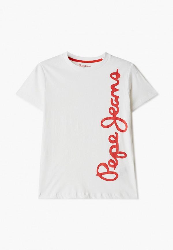 футболка с коротким рукавом pepe jeans london для мальчика, белая