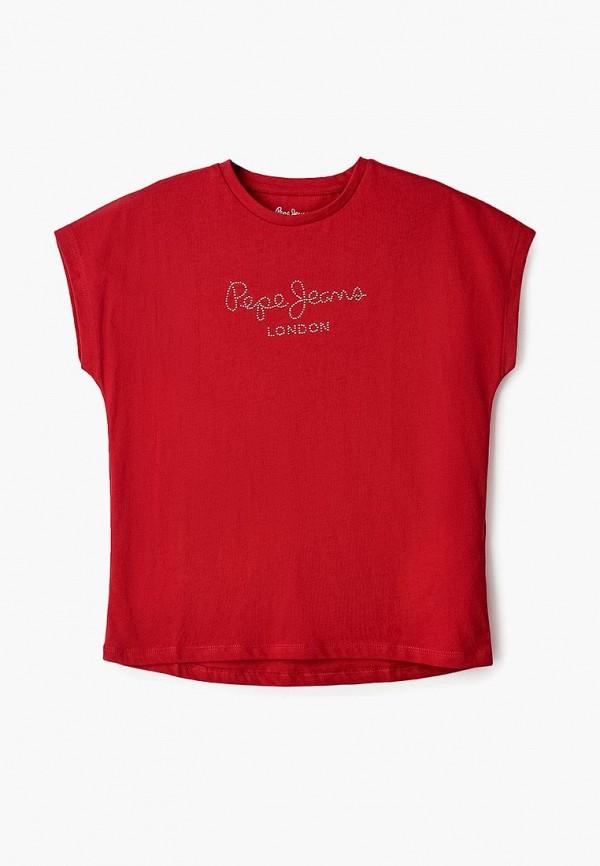 футболка с коротким рукавом pepe jeans london для девочки, красная