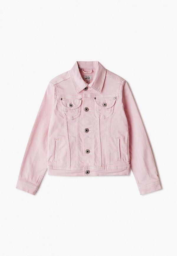 джинсовые куртка pepe jeans london для девочки, розовая