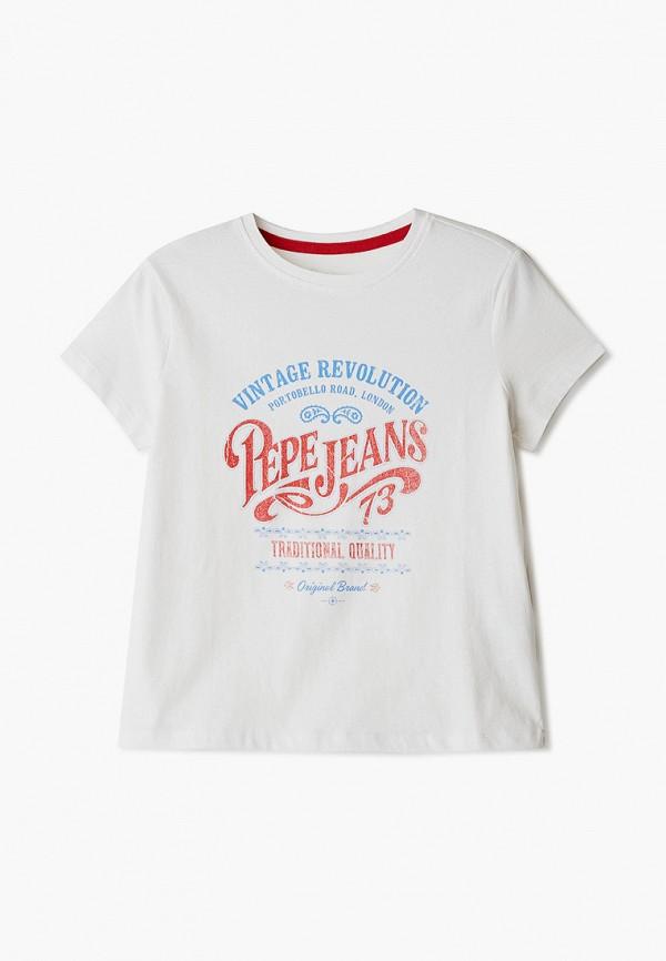 футболка с коротким рукавом pepe jeans london для девочки, белая