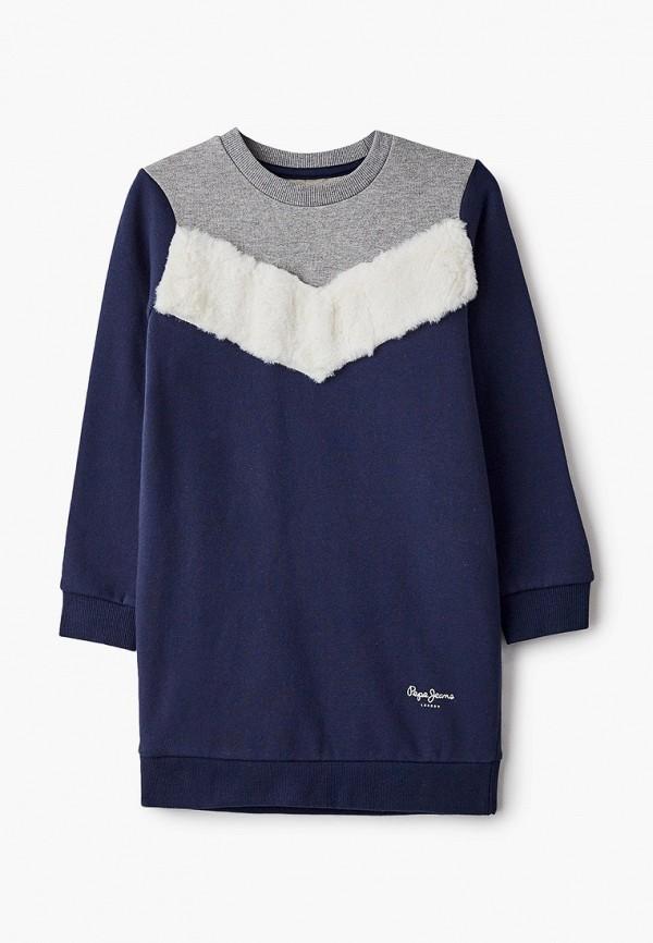 повседневные платье pepe jeans london для девочки, синее