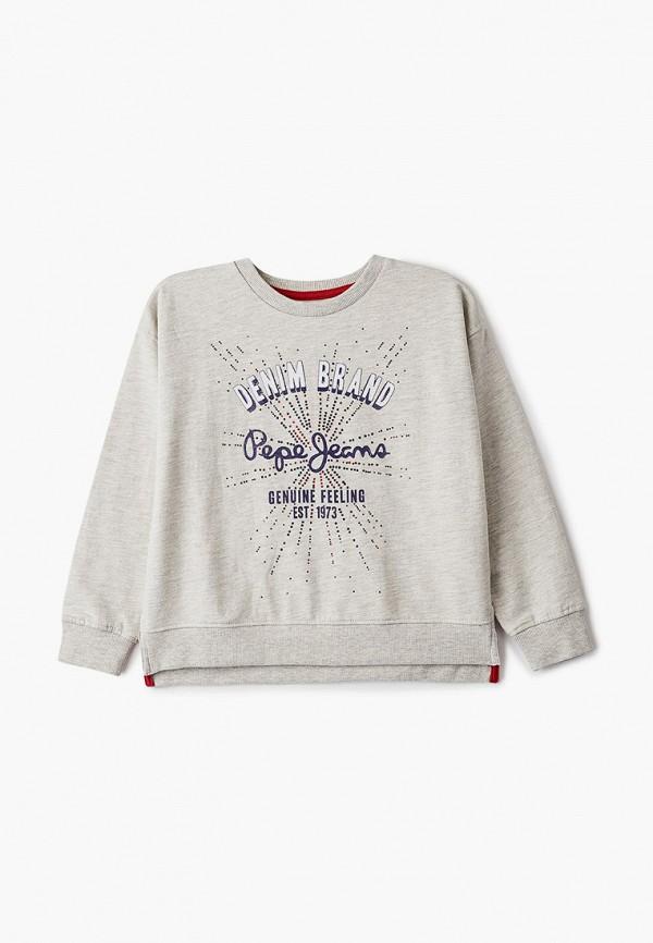свитшот pepe jeans london для девочки, серый
