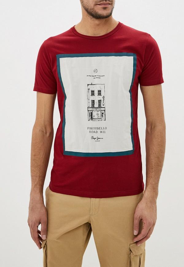 мужская футболка с коротким рукавом pepe jeans london, бордовая