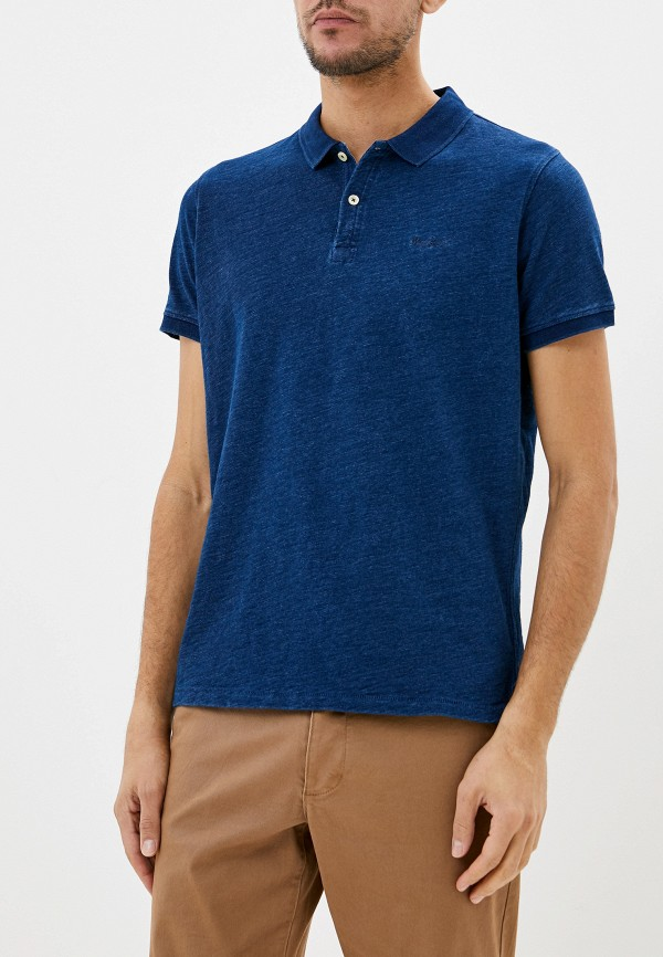 мужское поло с коротким рукавом pepe jeans london, синее