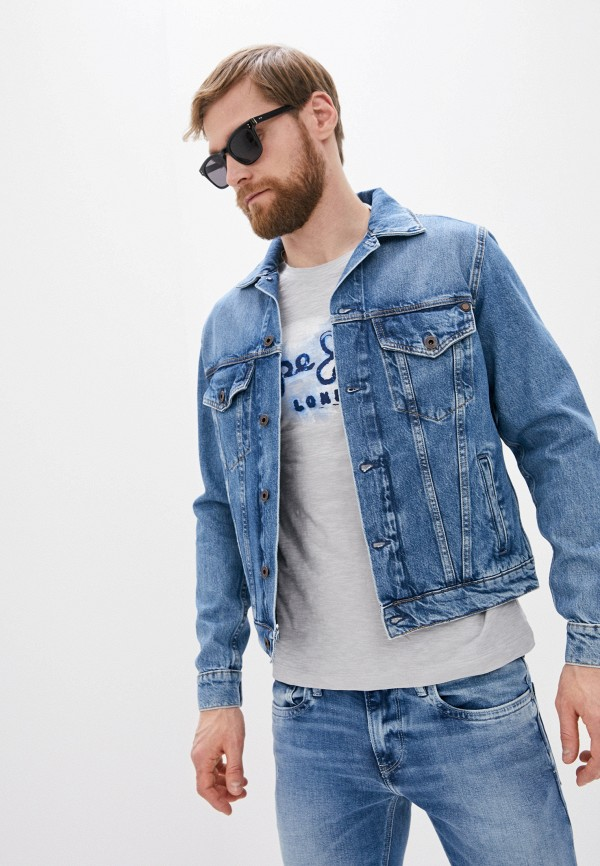 мужская куртка pepe jeans london, голубая
