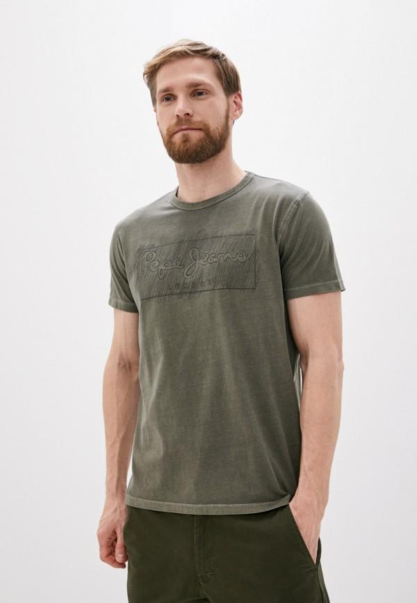 мужская футболка pepe jeans london, хаки