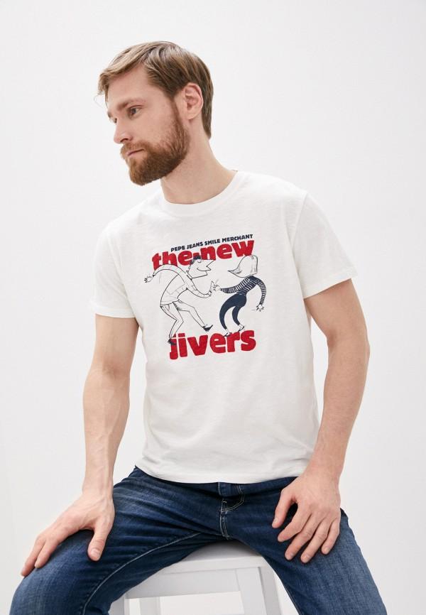 мужская футболка pepe jeans london, белая