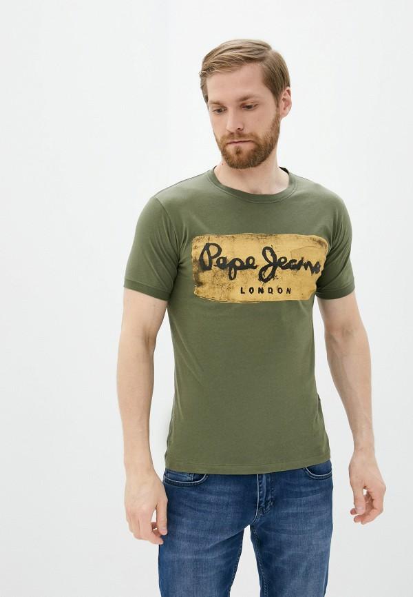 мужская футболка с коротким рукавом pepe jeans london, хаки