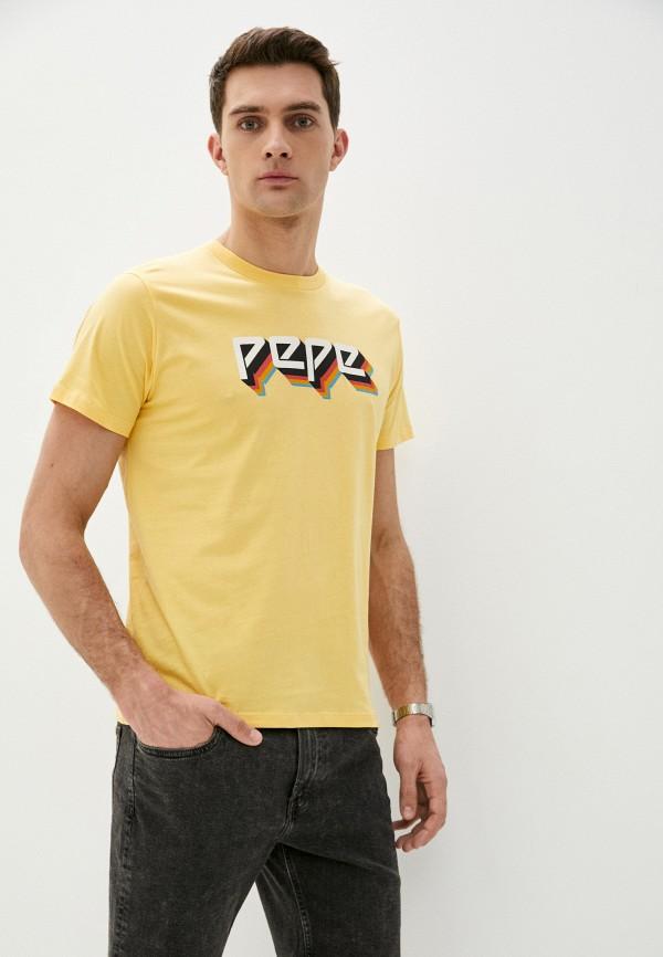 мужская футболка с коротким рукавом pepe jeans london, желтая