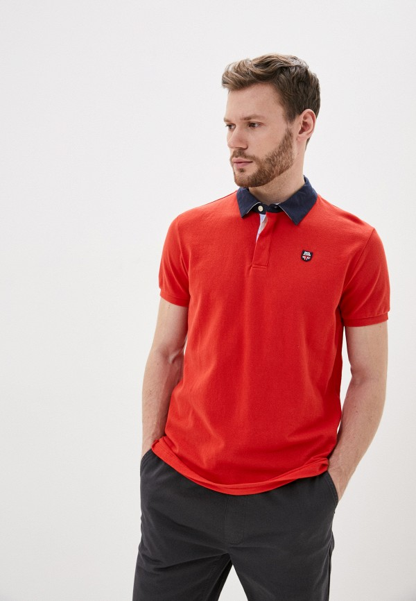 мужское поло с коротким рукавом pepe jeans london, красное