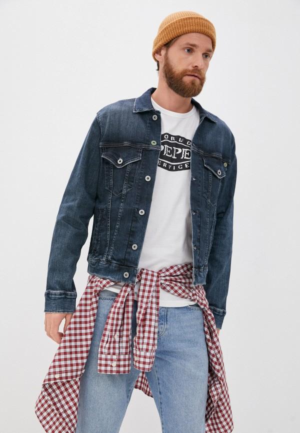 мужская джинсовые куртка pepe jeans london, синяя