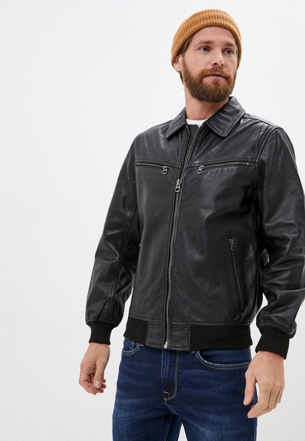 мужская кожаные куртка pepe jeans london, черная