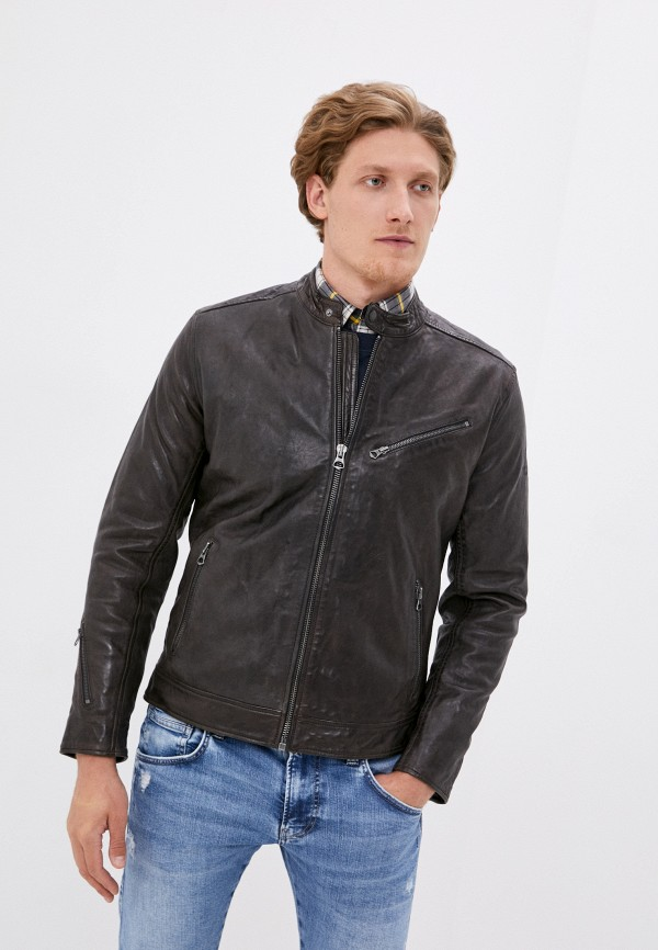 мужская кожаные куртка pepe jeans london, серая