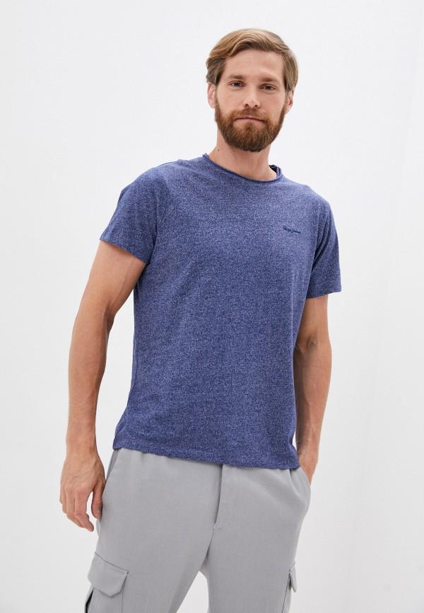мужская футболка с коротким рукавом pepe jeans london, синяя