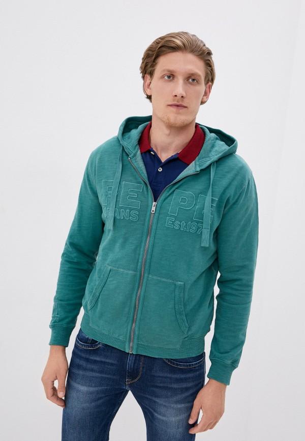 мужская толстовка pepe jeans london, зеленая