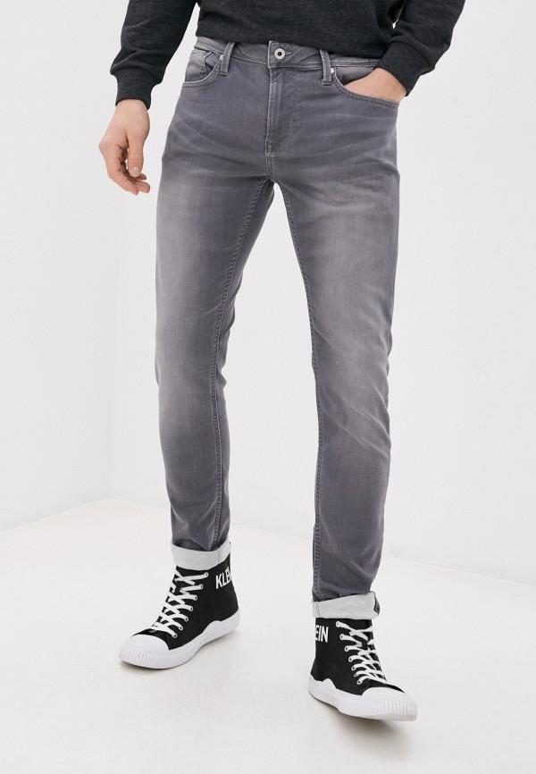 мужские зауженные джинсы pepe jeans london, серые