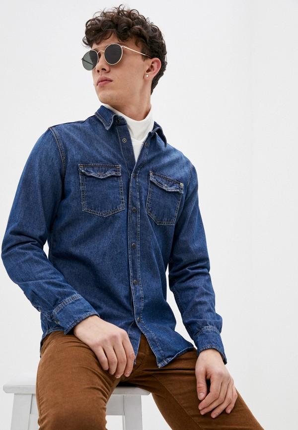 мужская джинсовые рубашка pepe jeans london, синяя