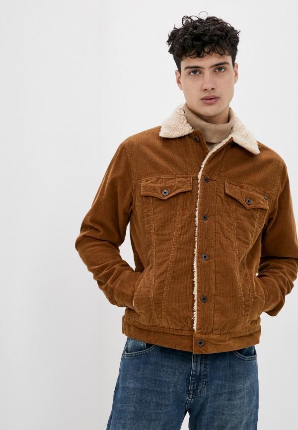 мужская куртка pepe jeans london, коричневая