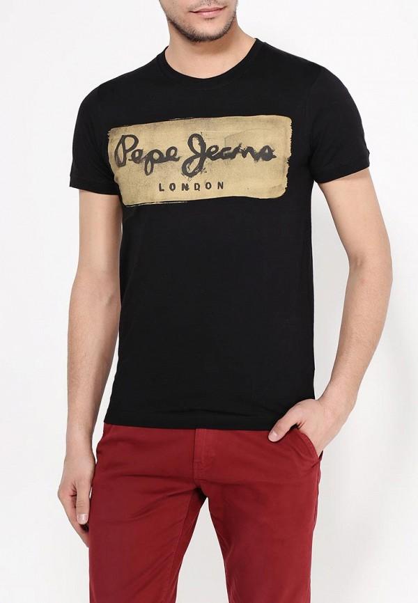 мужская футболка с коротким рукавом pepe jeans london, черная