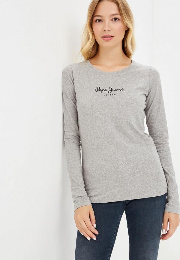 женский лонгслив pepe jeans london, серый