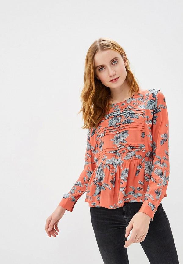 женская блузка pepe jeans london, оранжевая