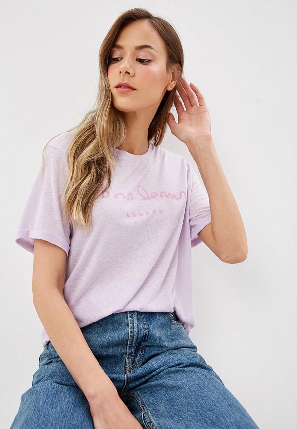 женская футболка pepe jeans london, фиолетовая