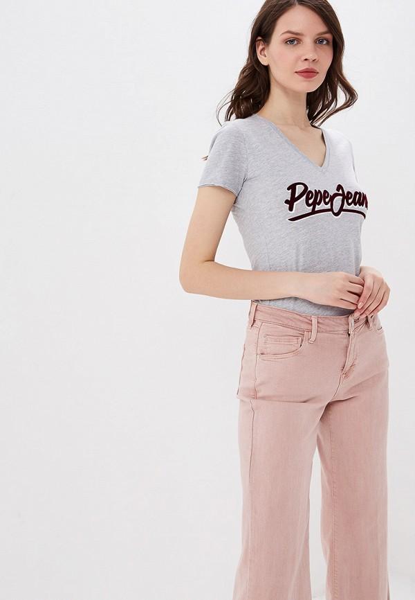 женская футболка pepe jeans london, серая
