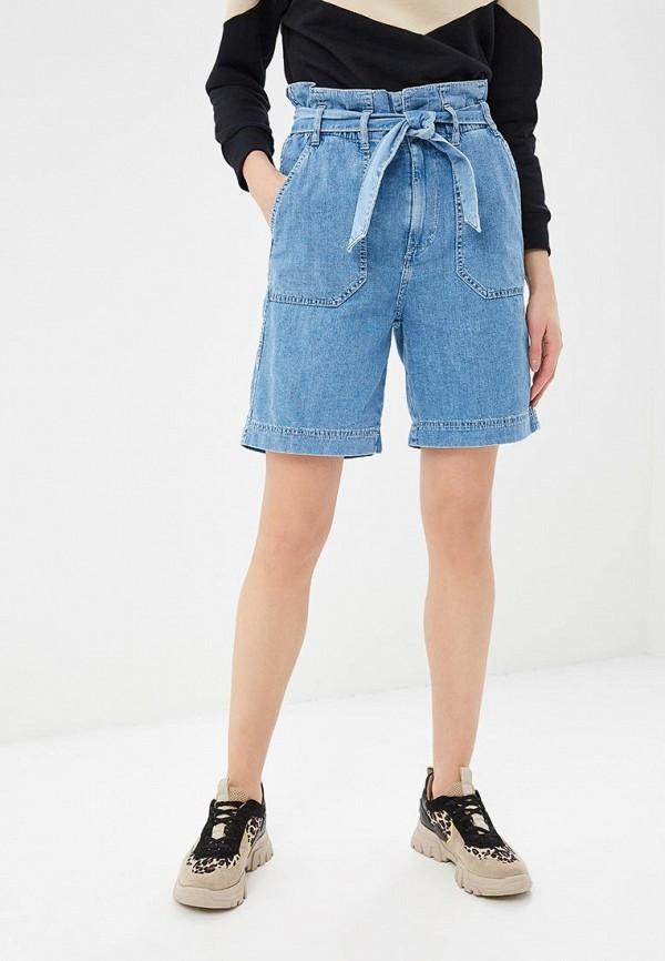 женские джинсовые шорты pepe jeans london, голубые