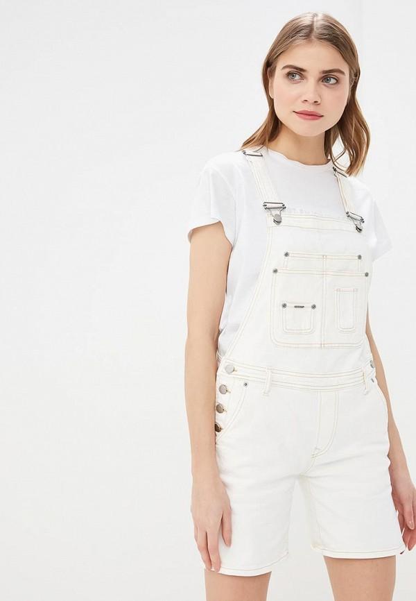 женский джинсовые комбинезон pepe jeans london, белый