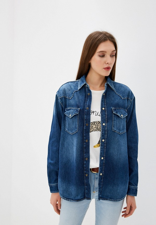 женская джинсовые рубашка pepe jeans london, синяя