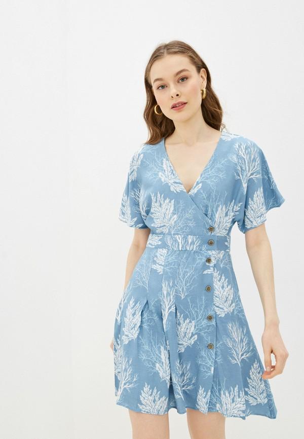 женское платье с запахом pepe jeans london, голубое