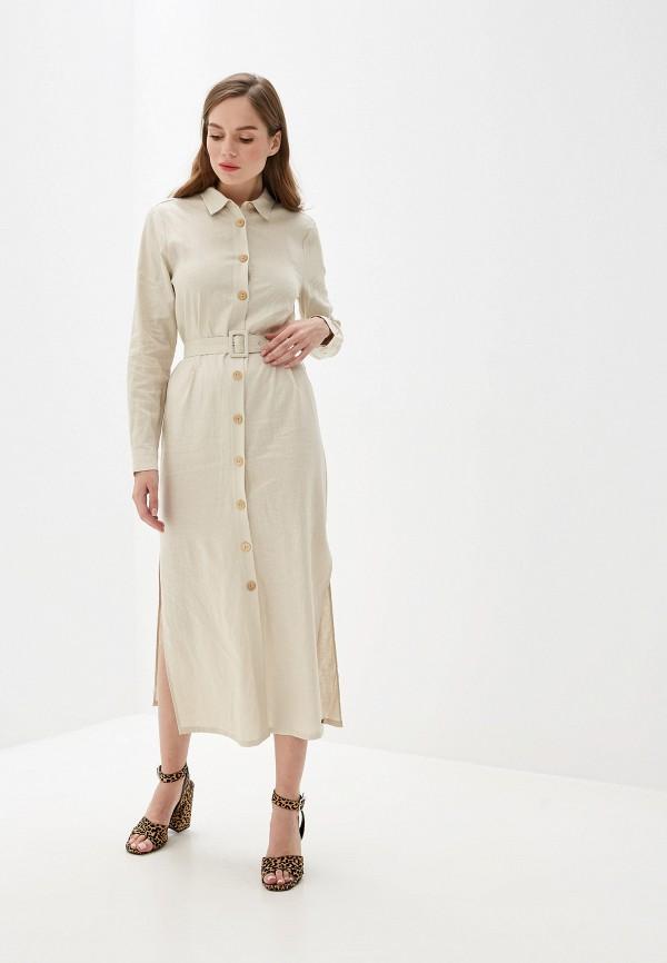 женское повседневные платье pepe jeans london, бежевое