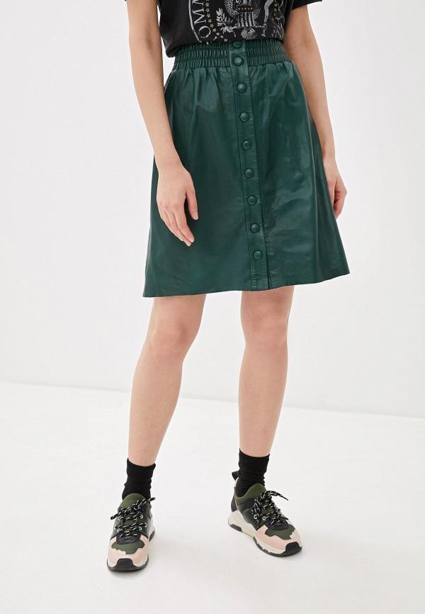 женская кожаные юбка pepe jeans london, зеленая
