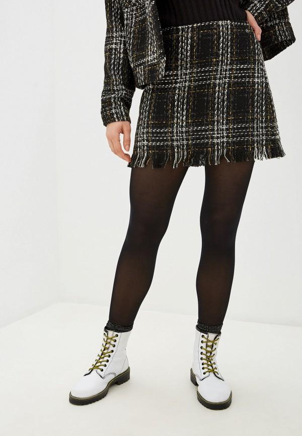 женская юбка миди pepe jeans london, черная