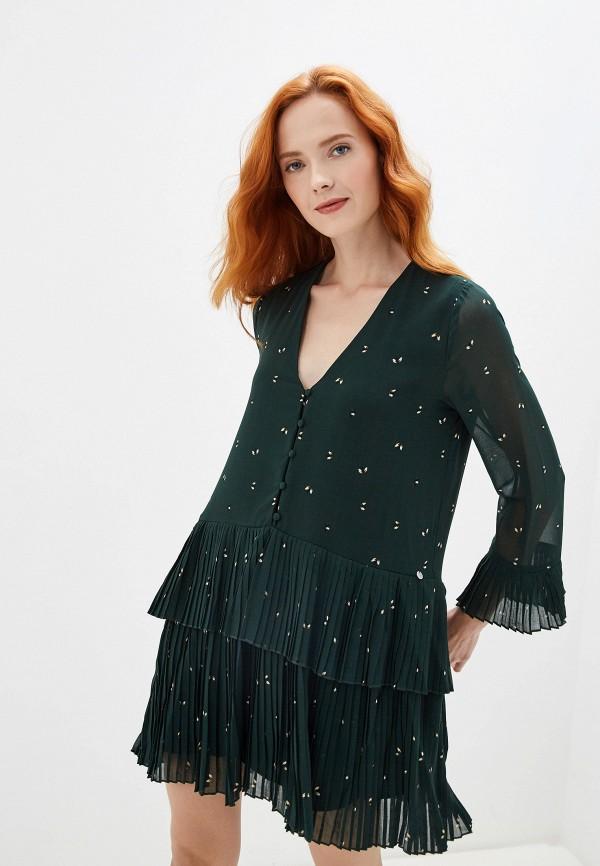 женское платье мини pepe jeans london, зеленое
