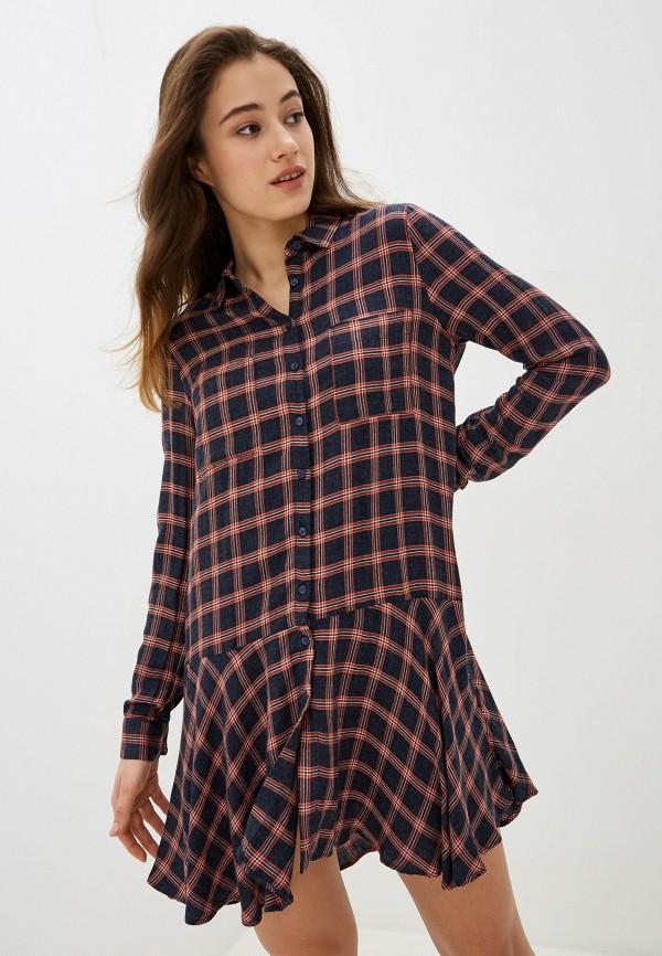 женское платье-рубашки pepe jeans london, синее