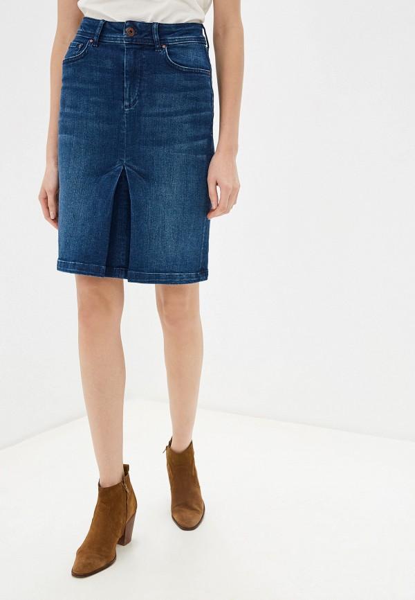 женская юбка мини pepe jeans london, синяя