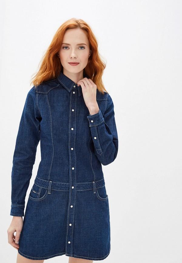 женское платье мини pepe jeans london, синее