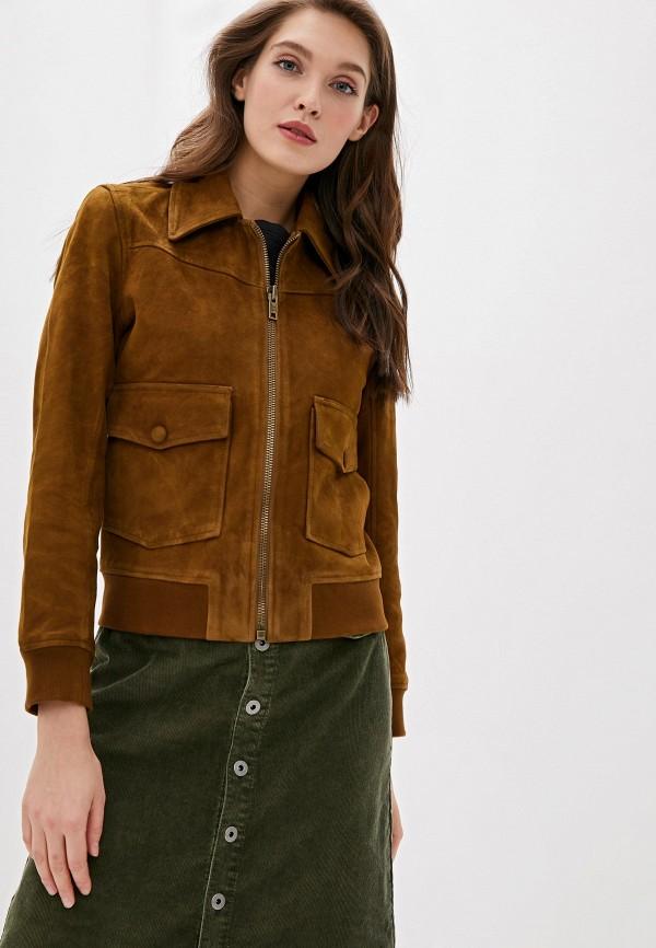 женская кожаные куртка pepe jeans london, коричневая