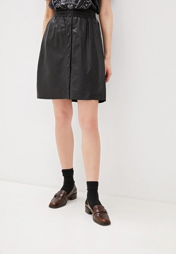 женская кожаные юбка pepe jeans london, черная
