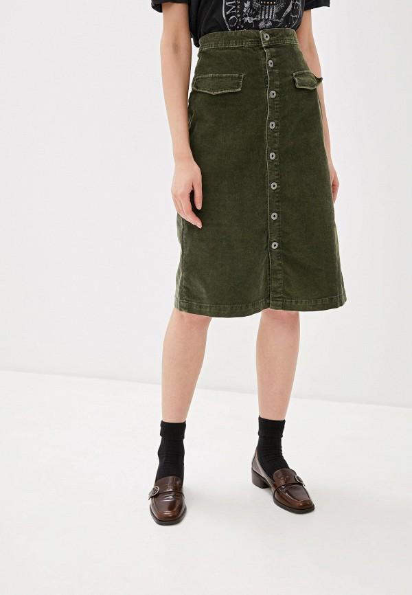 женская юбка-трапеции pepe jeans london, хаки