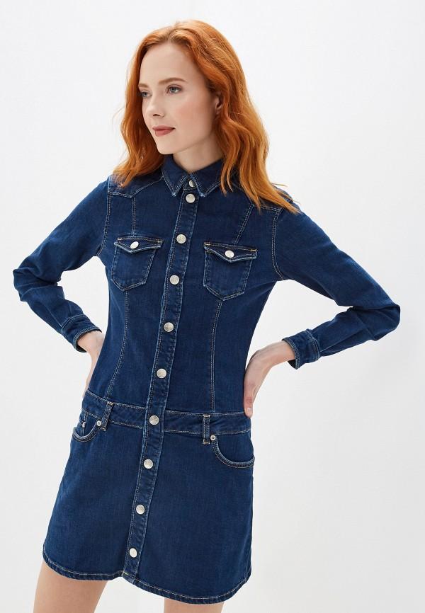 женское джинсовые платье pepe jeans london, синее