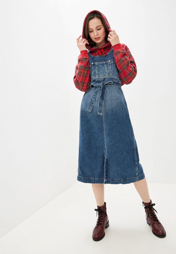 женский сарафан pepe jeans london, синий