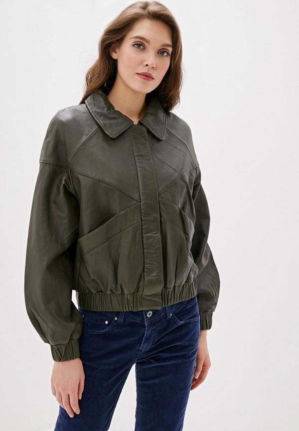 женская кожаные куртка pepe jeans london, хаки