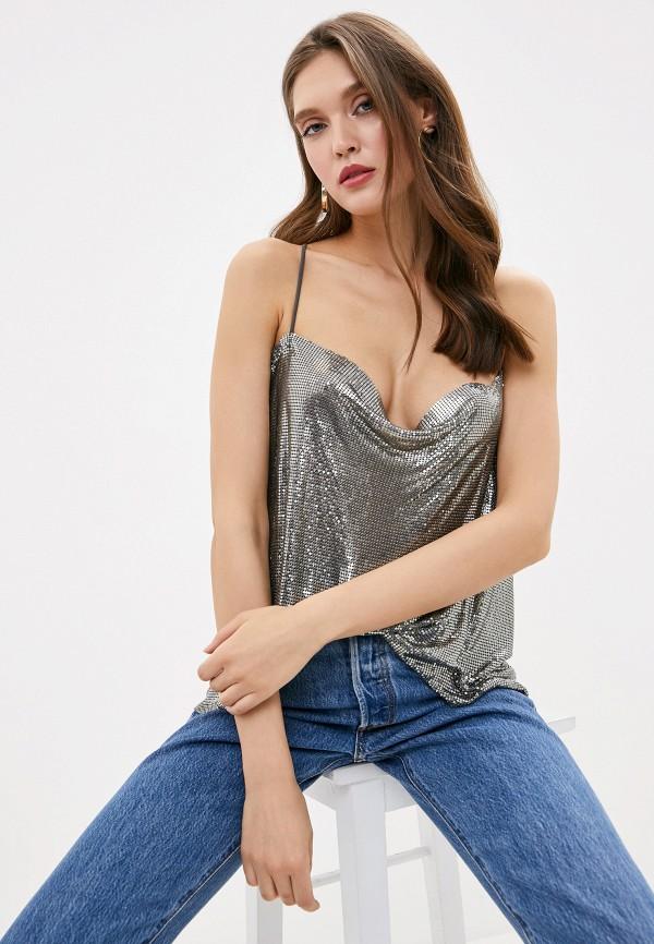 женский топ pepe jeans london, серебряный