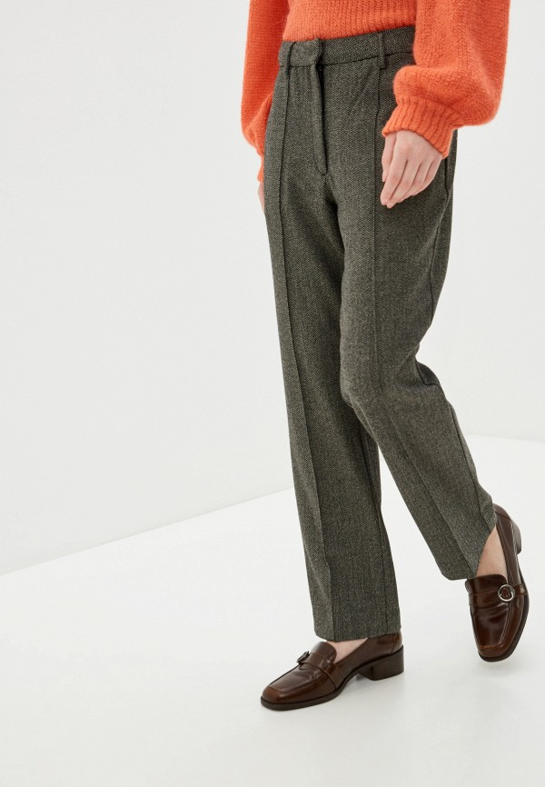 женские классические брюки pepe jeans london, коричневые