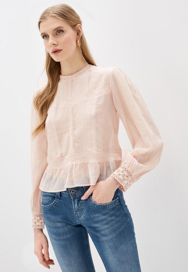 женская блузка pepe jeans london, розовая