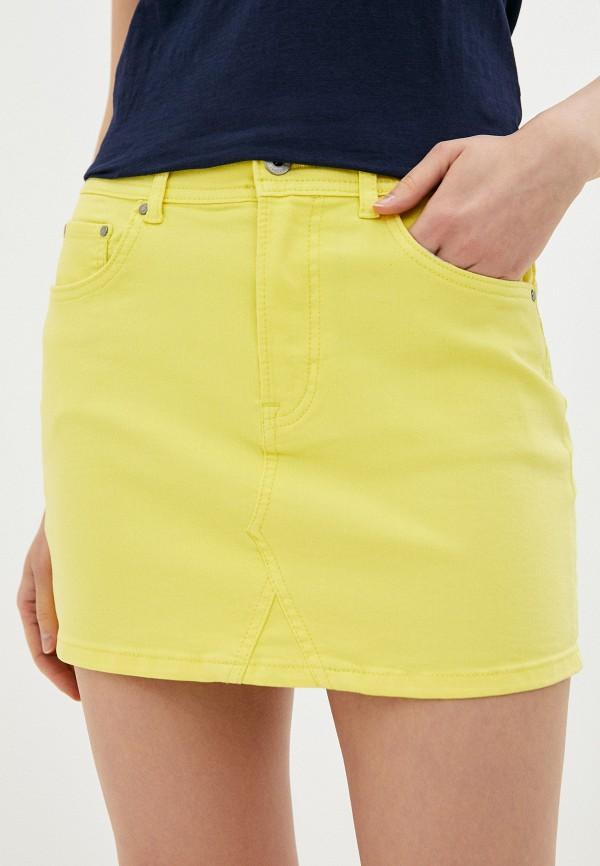 женская зауженные юбка pepe jeans london, желтая