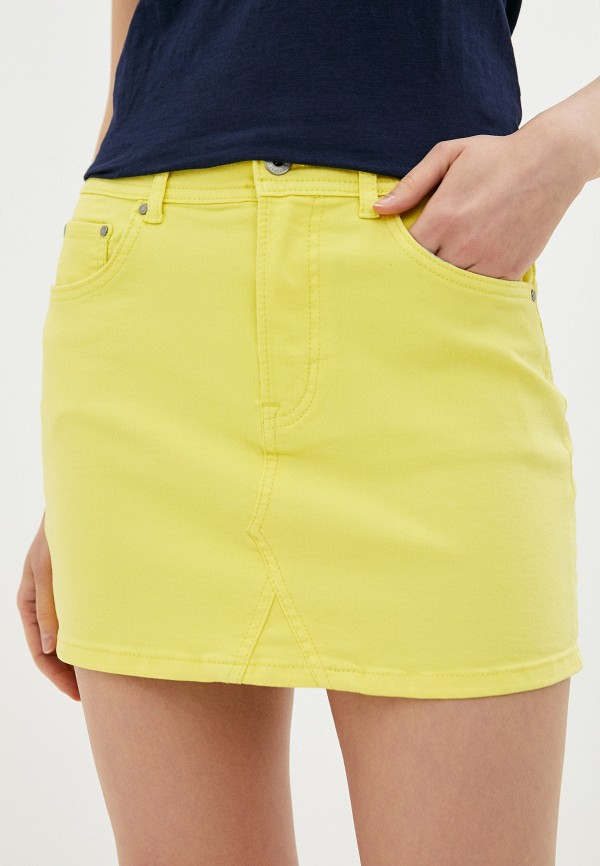 женская узкие юбка pepe jeans london, желтая