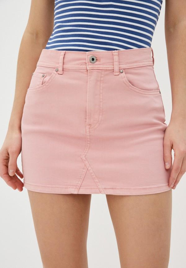 женская узкие юбка pepe jeans london, розовая